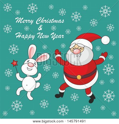 Greeting card merry Christmas and New Year with Santa Claus's image and cheerful rabbit