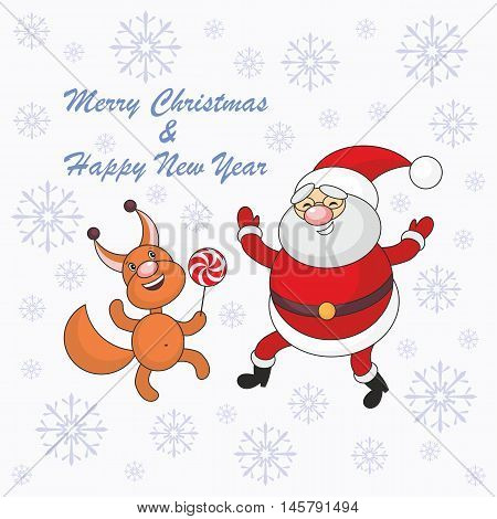 Greeting card merry Christmas and New Year with Santa Claus's image and cheerful squirrel.