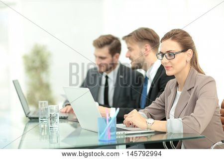 Successful business group working at the office