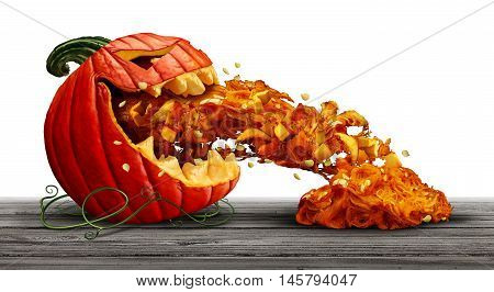 Pumpkin character as a halloween orange squash vegetable and scary jack o lantern icon vomiting seeds and pulp in a side view with an open mouth on a white background as a symbol for fall and autumn festive communication with 3D illustration elements.