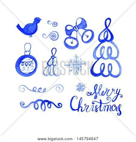 Set of watercolor drawings Merry Christmas Watercolor blue lettering.