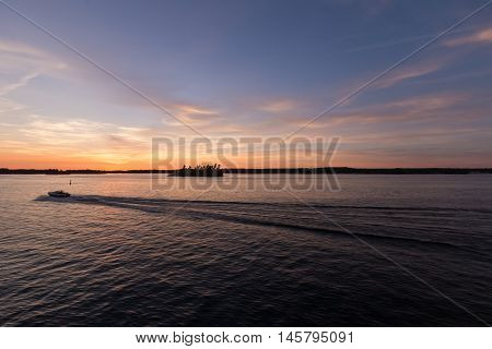 Sunset over the St. Lawrence Seaway in summer
