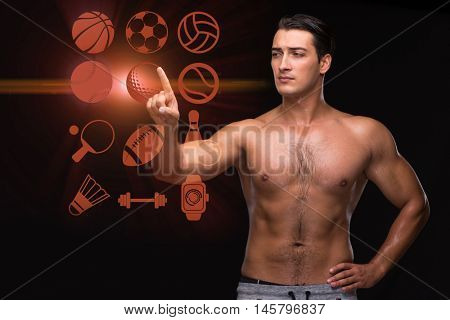 Young muscular man in sports concept