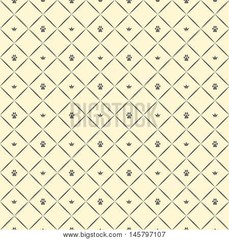 Seamless luxury dog paw pattern with crowns. Beige and grey print. Vector illustration.
