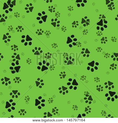 Animal paws. Random sized footprints. Seamless pattern. Vector illustration. Green