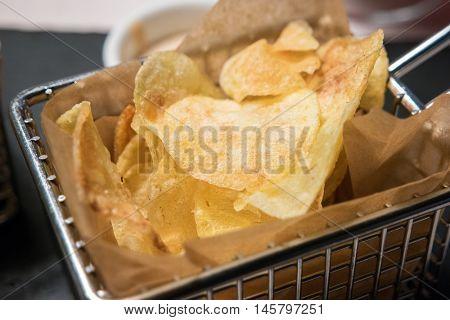 Closeup of fried potatoes