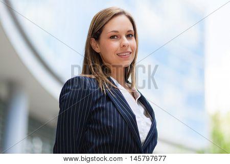 Confident businesswoman portrait outdoor
