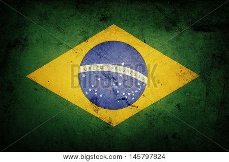 Closeup of grunge Brazilian flag