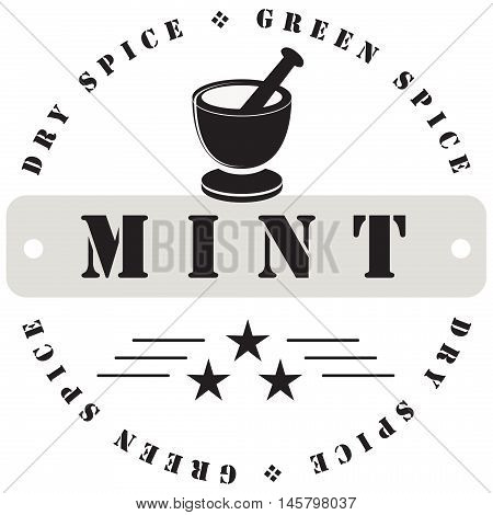 Stamp print for spices - mint. Vector illustration.