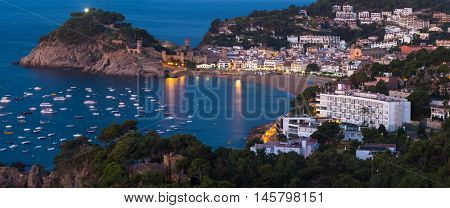 Panorama of the town of Tossa de Mar at sunrise, Spain
