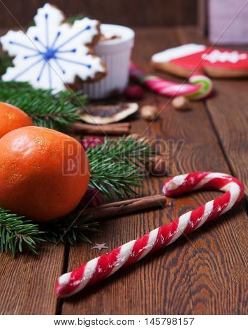 Christmas decoration over the dark wooden background