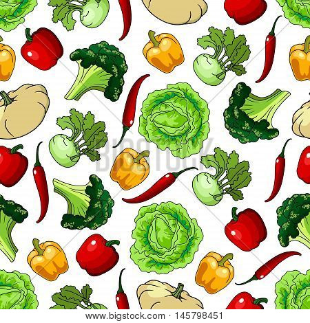 Vegetables seamless background. Wallpaper with pattern of fresh farm vegetarian food. Pepper, cabbage, kohlrabi, chili, squash for grocery store, food market, product shop