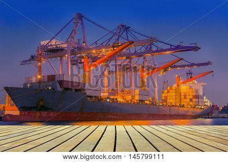 Beside of the cargo ship terminal, Twilight scene.