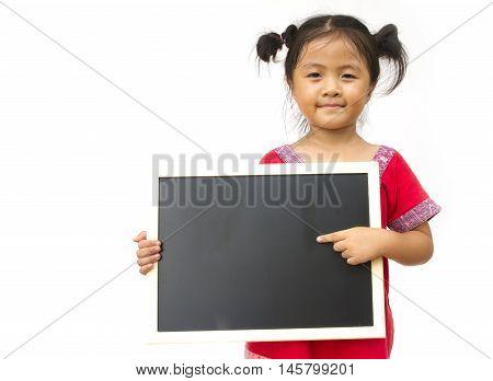 Child Holding Black Board