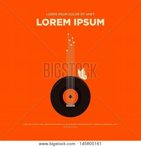 Abstract vintage retro music poster guitar butterfly background isolated vector illustration
