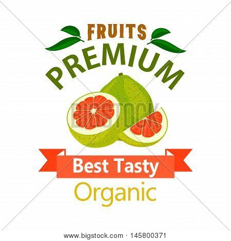 Pomelo organic fruit poster. Vector icon for grocery, farm stores, packaging advertising, signboard, label, juice packaging