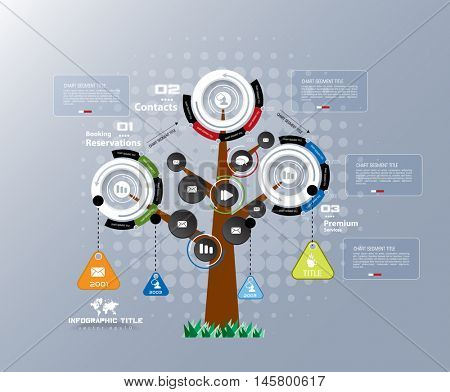 Abstract tree infographics elements