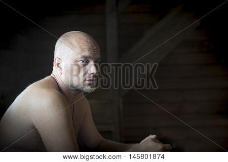 Sad bald man