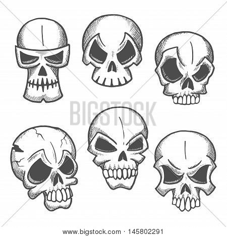 Artistic skeleton skulls sketches icons. Abstract cranium shapes with expressions. Skull icons for cartoon, label, tattoo, halloween decoration