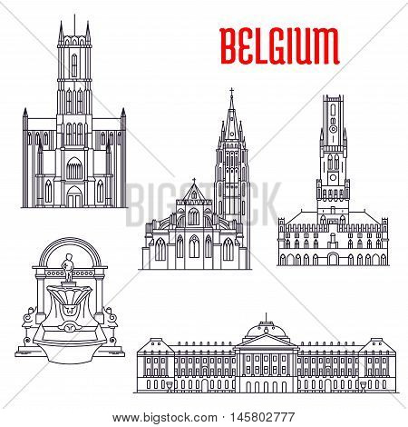 Famous historic buildings of Belgium. Thin line icons of Manneken Pis, Royal Palace, Belfry of Bruges, Church of Our Lady, St Bavo Cathedral. Belgian showplaces symbols for souvenirs, postcards, t-shirts