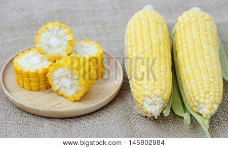 Fresh Corn On Wood Plate