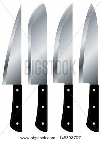 Kitchen knives big size set isolated on white background.