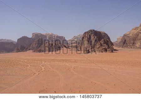 View Of Nature, Desert And Rocks Of Wadi Rum (valley Of The Moon) From Sand Dune, Jordan. Unesco Wor