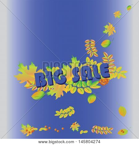 Big sale banner on a blue background. Autumn and great seasonal discounts. Vector sale banner template.