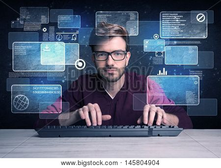 A confident young hacker working hard on solving online password codes concept with a computer keyboard and illustrated digital screen, numbers in the background poster
