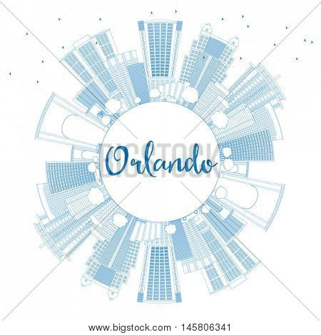 Outline Orlando Skyline with Blue Buildings and Copy Space. Business Travel and Tourism Concept with Orlando City. Image for Presentation Banner Placard and Web Site.