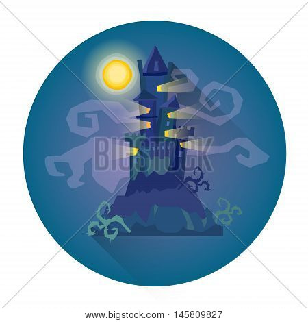 Gothic Castle House In Moonlight Halloween Holiday Icon Flat Vector Illustration