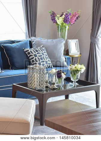Romantic Candle Set With Beige And Blue Modern Classic Sofa In Warm Living Room