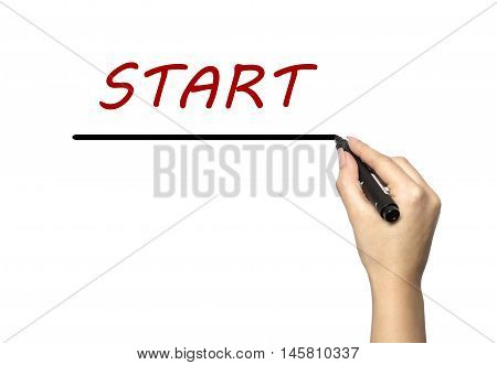A woman wrote the word Start on a white background