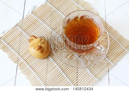 Mooncake cookie and chinese tea for mid autumn celebration