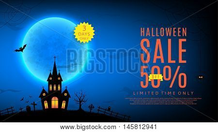 Halloween sale web banner. Vector illustration. Templates of poster with terrible house on blue background. Halloween greeting card.