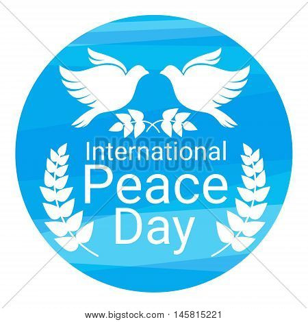 World Peace Day Poster White Dove Bird Couple Symbol Flat Vector Illustration