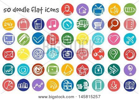 Vector flat doodle icons set. Stock illustration for design