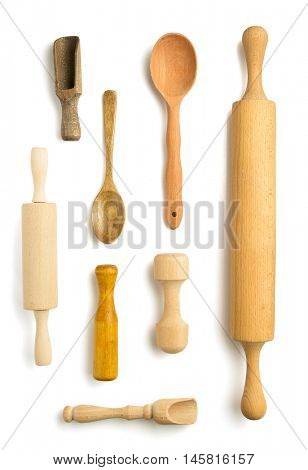wooden utensils isolated on white background