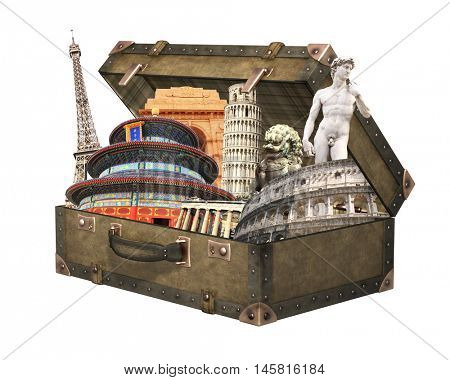 Famous monuments of world - Eiffel tower in Paris, Leaning Tower of Pisa; Coliseum in Rome; Parthenon, Temple of Heaven, Michelangelo's David,  In vintage suitcase. Isolated on white background.