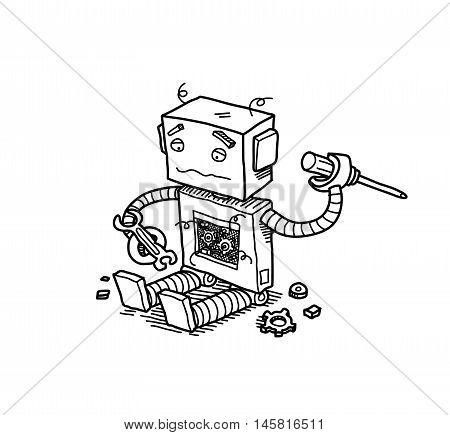 Broken Robot. A hand drawn vector doodle cartoon illustration of a broken robot trying to fix itself.