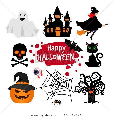 Happy halloween banner elements. Vector halloween scary icons isolated on white background
