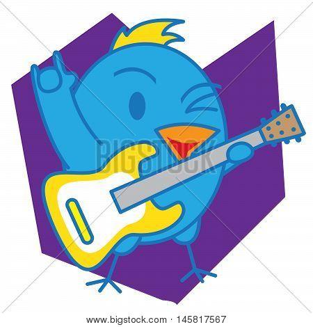 Blue Bird and Guitar Illustration Vector Art