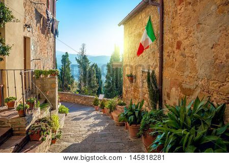 Small Old Mediterranean town - lovely Tuscan street in Pienza, Italy