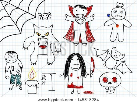 Vector set of scary monsters - zombie, werewolf, vampire, voodoo doll, girl with knife, bat, candle, skull, spider. Sketch on notebook page