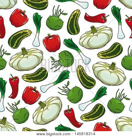 Farm vegetables seamless background. Wallpaper with pattern of fresh vegetarian food pepper, zucchini, paprika, celery, kohlrabi, chili. Vegan design for grocery store, food market, product shop, decoration