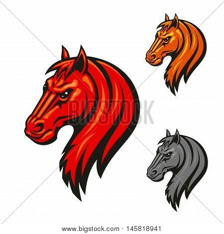 Horse head emblem with fierce black eyes. Aggressive powerful mustang vector icon for hippodrome, sport club emblem, team shield, badge, label, tattoo