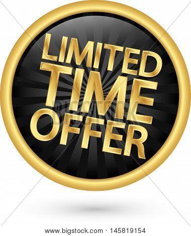 Limited Timel Offer Golden Label, Vector Illustration