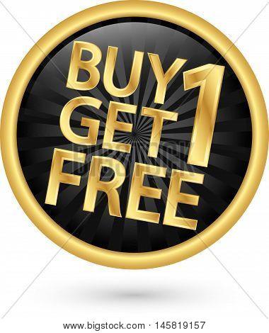 Buy 1 Get 1 Free Golden Label, Vector Illustration
