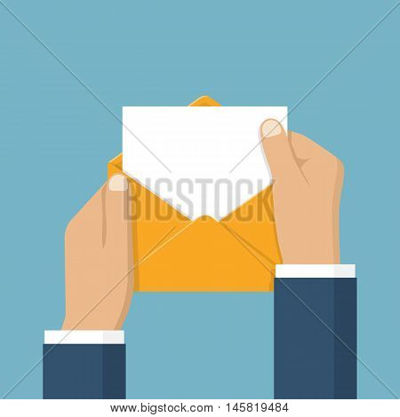 Businessman opening an envelope with letter. Blank sheet paper for text template. Vector illustration flat design. Mail concept. Isolated hands open envelope. Sending message notification invitation