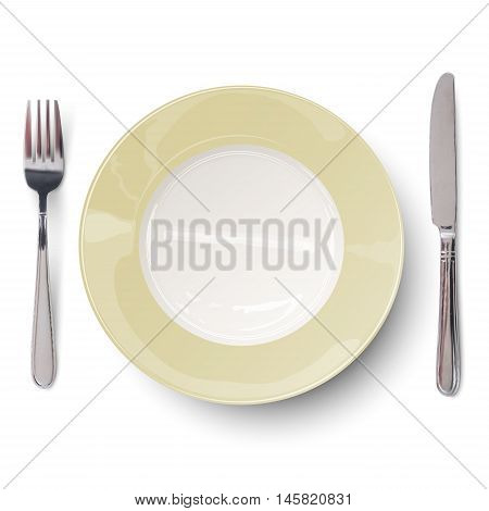 Empty plate with ivory-colored design with knife and fork isolated. View from above.